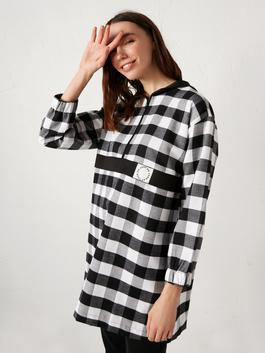 BLACK - MODEST Hooded Oversized Plaid Tunic