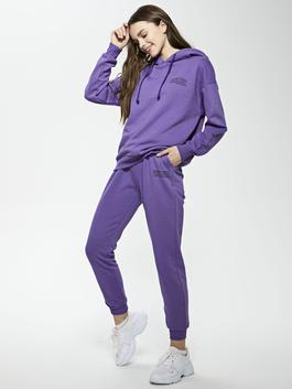 PURPLE - Elastic Waist Printed Women's Tracksuit Bottoms