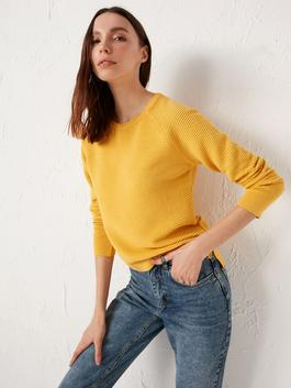 YELLOW - Crew Neck Tricot Jumper