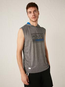 GREY - Hooded Sleeveless Active Sports Print Athlete