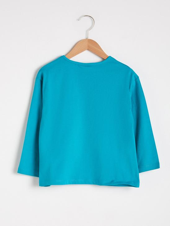 TURQUOISE - Girl's Printed Cotton T-Shirt - S1AT49Z4