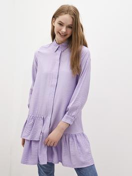 LILAC - MODEST  Shirt Collar Ruffle Detailed Long Sleeve Women's Tunic