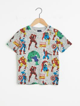 GREY - Crew Neck Marvel Licensed Short Sleeve Boy T-Shirt