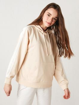 BEIGE - Hooded Stripe Detailed Long Sleeve Women's Sweatshirt