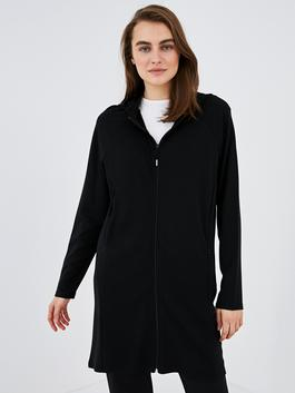 BLACK - MODEST Hooded Straight Long Sleeve Women Cardigan