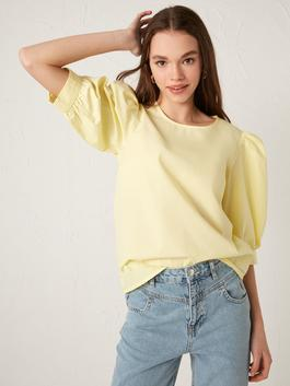 YELLOW - Buttoned Crew Neck Straight Short Sleeve Poplin Women's Blouse