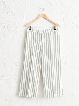 GREEN - Ankle Length Striped Loose Leg Trousers