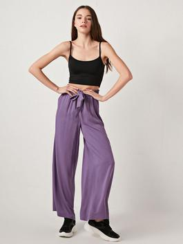 PURPLE - Wide Leg Viscose Women Trousers With Elastic Waist
