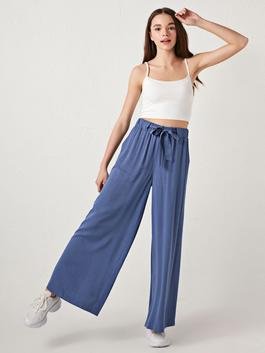BLUE - Wide Leg Viscose Women Trousers With Elastic Waist