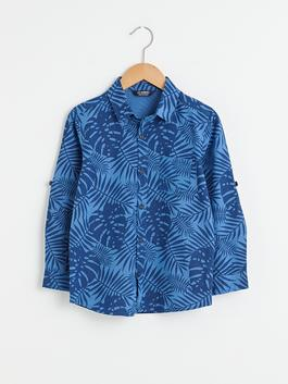 INDIGO - Patterned Long Sleeve Boy Poplin Shirt