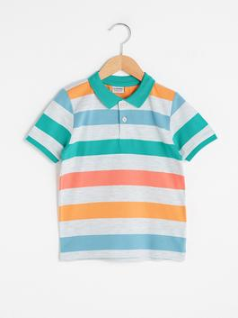 ORANGE - Polo Neck Striped Short Sleeve Boy T-Shirt
