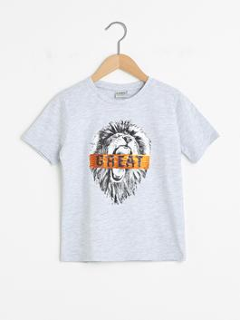 GREY - Crew Neck Printed Double Sided Sequined Short Sleeve Boy T-Shirt