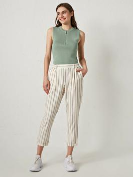 ECRU - Elastic Waist Striped Wide Fit Carrot Woman Trousers