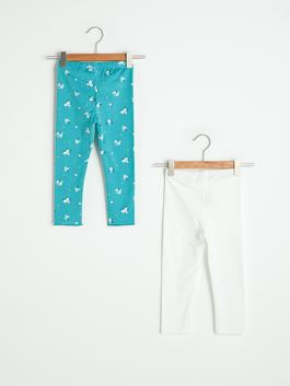 TURQUOISE - Elastic Waist Baby Girl Long Tights 2 Pieces - S1GM98Z1