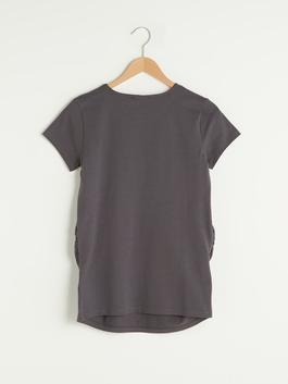 ANTHRACITE - Crew Neck Printed Short Sleeve Maternity T-Shirt - S1GR21Z8
