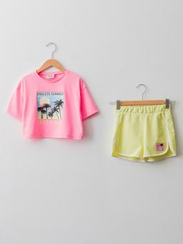 PINK - Crew Neck Printed Short Sleeve Girl's T-Shirt and Shorts - S1H807Z4