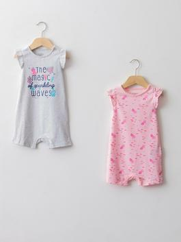 PINK - Crew Neck Short Sleeve Printed Baby Girl Jumpsuit 2 Pieces - S1AD43Z1