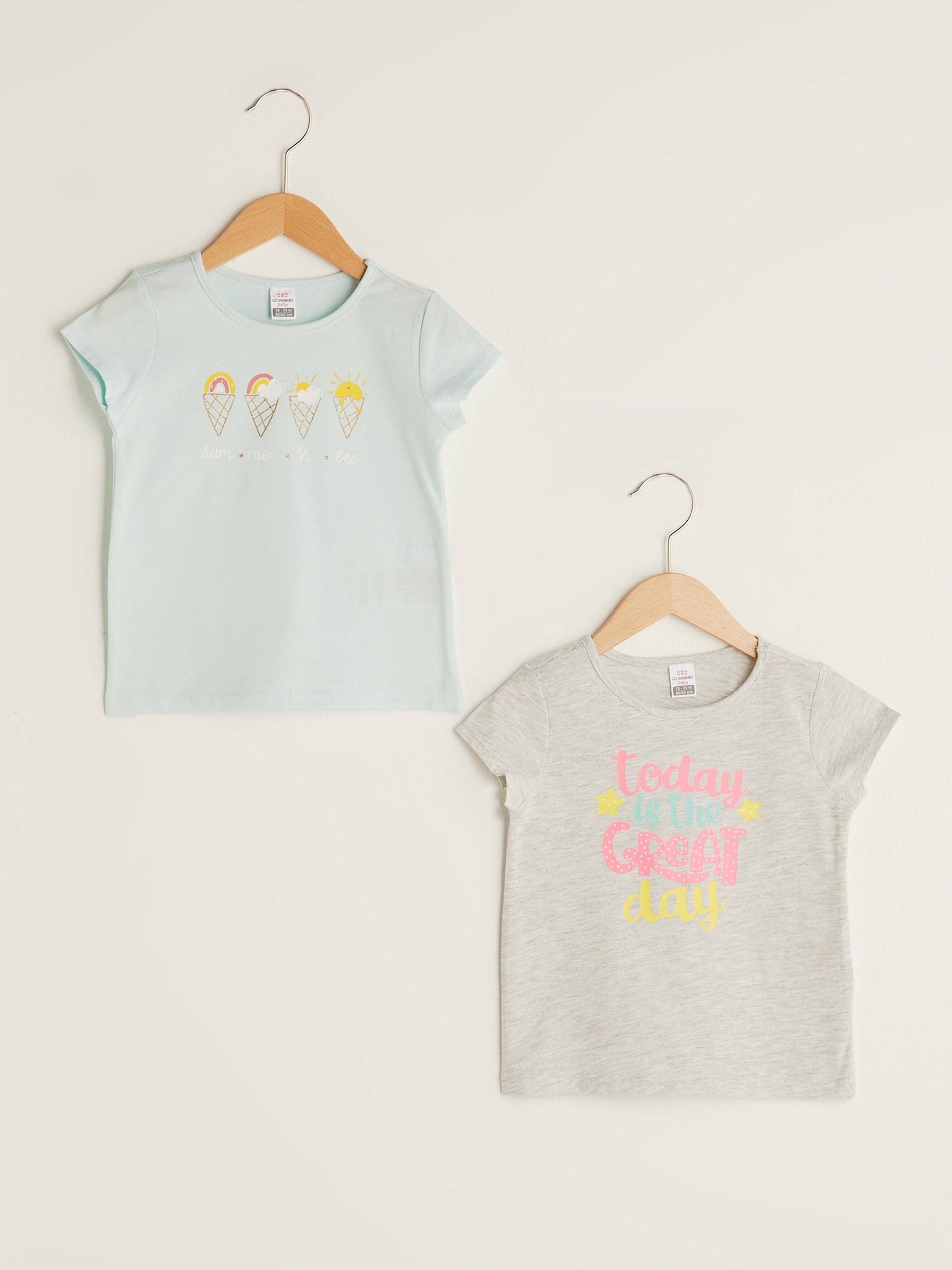 BLUE - Crew Neck Short Sleeve Printed Baby Girl T-Shirt 2 Pieces - S1J655Z1