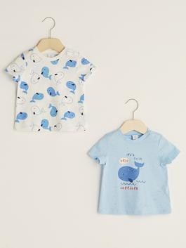 BLUE - Crew Neck Short Sleeve Printed Baby Boy T-Shirt 2 Pieces - S13334Z1