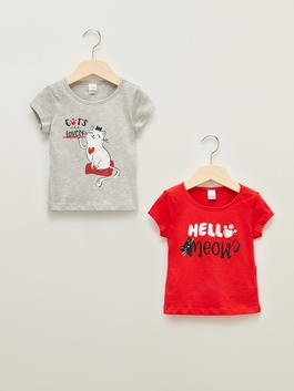 RED - Crew Neck Short Sleeve Printed Baby Girl T-Shirt 2 Pieces - S1JH86Z1