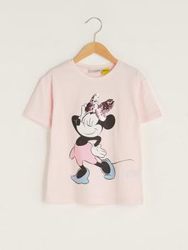 PINK - Crew Neck Minnie Mouse Printed Short Sleeve Girls T-Shirt - S1J982Z4