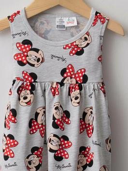 GREY - Crew Neck Minnie Mouse Printed Baby Girl Dress - S1LD68Z1
