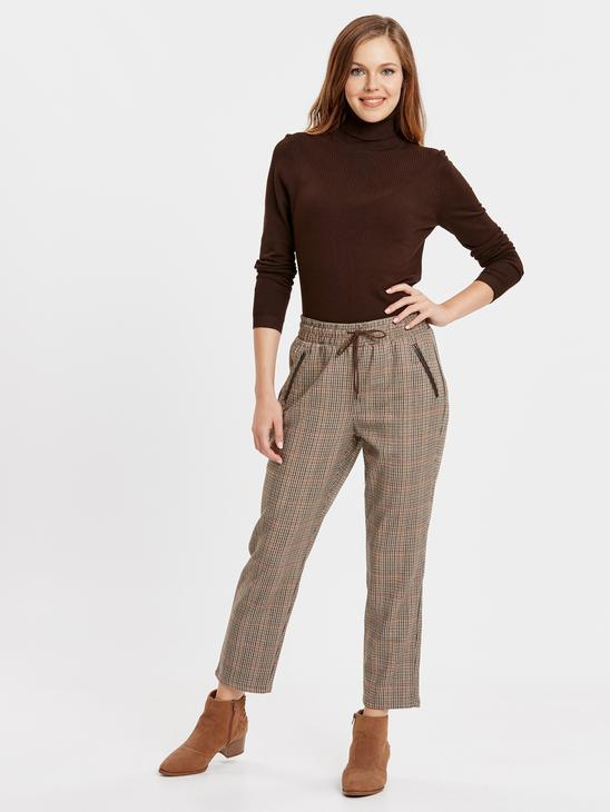 BROWN - Elastic Waist Carrot Fit Trousers - 8W9350Z8