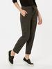 ANTHRACITE - Elastic Waist Plaid Ankle Trousers For Women - 8W9349Z8